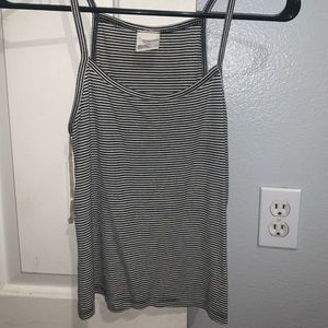 Tilly's Black and White Striped Tank Top M